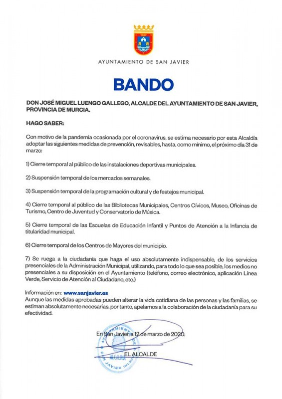 <span style='color:#780948'>ARCHIVED</span> - San Javier to cancel markets, events and close council-run buildings