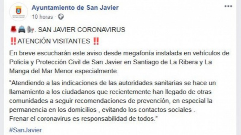 <span style='color:#780948'>ARCHIVED</span> - Coastal councils concerned by arrivals from Spanish cities getting away from coronavirus