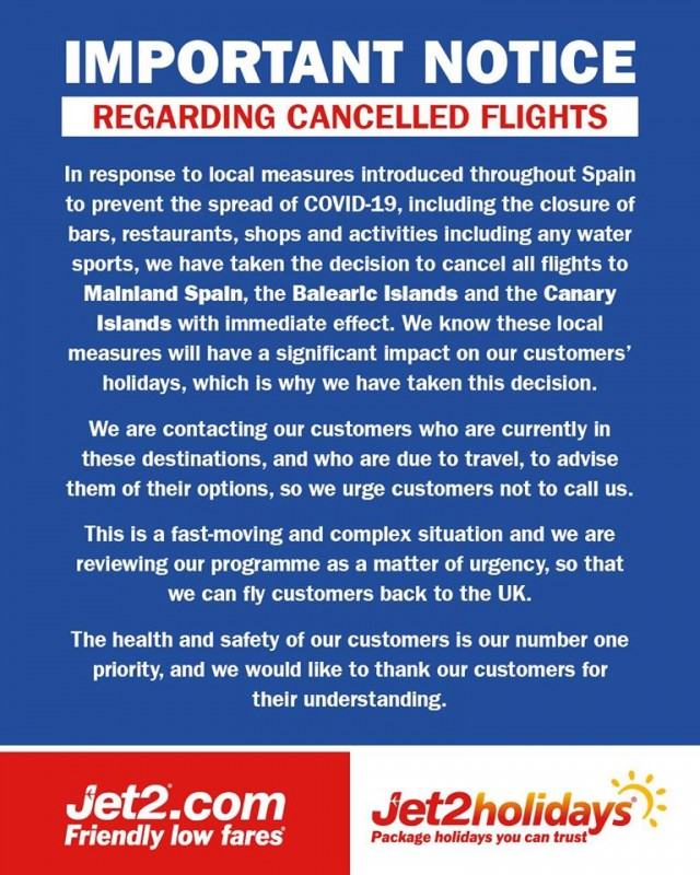 JET2 Cancels all flights to Spain