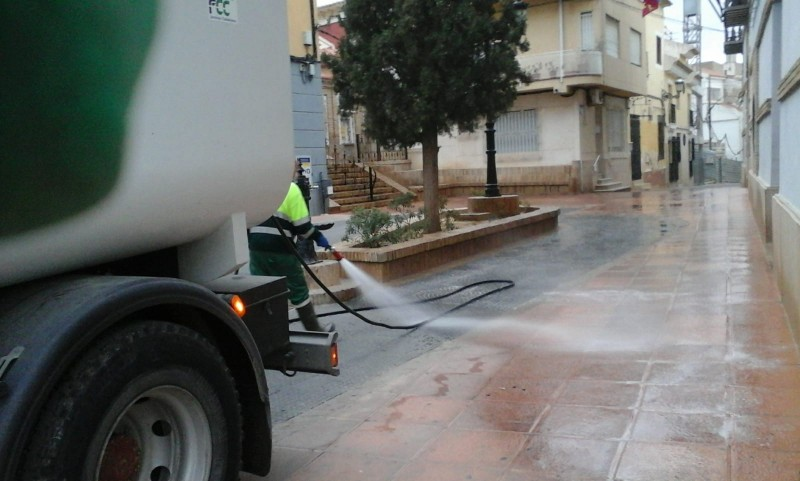 Alhama de Murcia  municipal services work to disinfect the streets