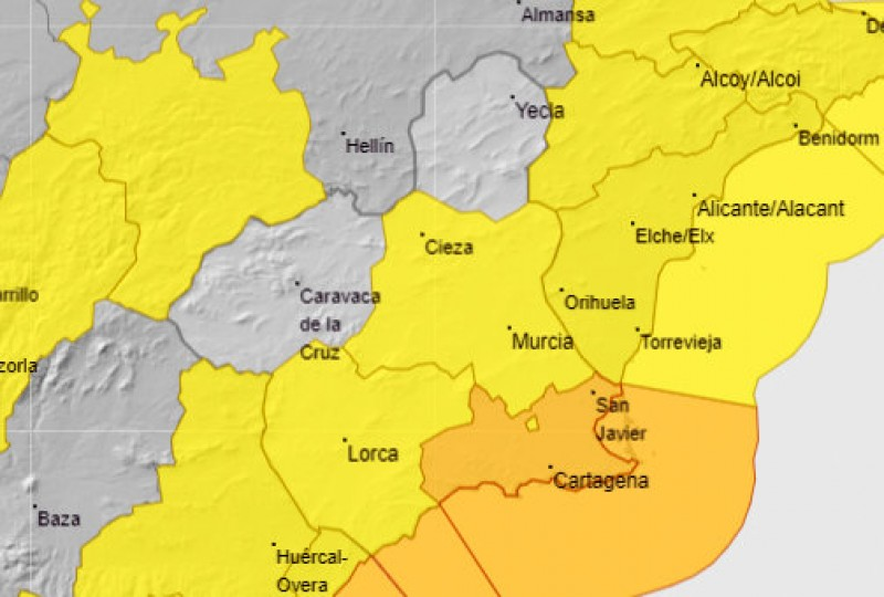 <span style='color:#780948'>ARCHIVED</span> - Orange and yellow alerts for heavy rain in Murcia on Tuesday