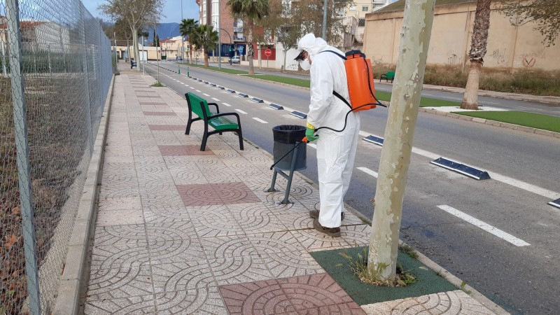 Jumilla municipal services work to disinfect the streets during Covid-19 lockdown