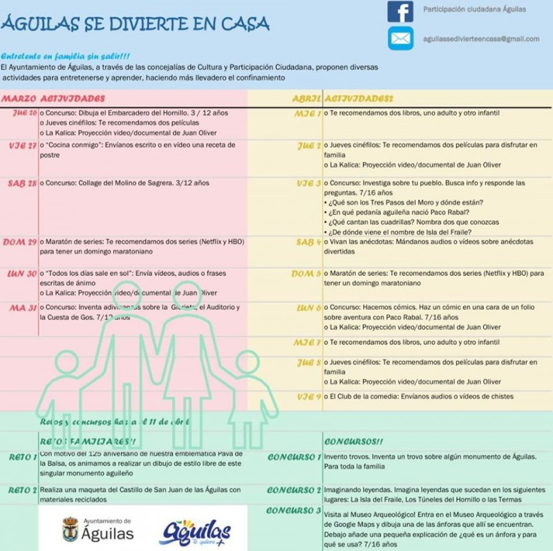 Lockdown competitions and activities for all the family offered by Águilas Town Hall