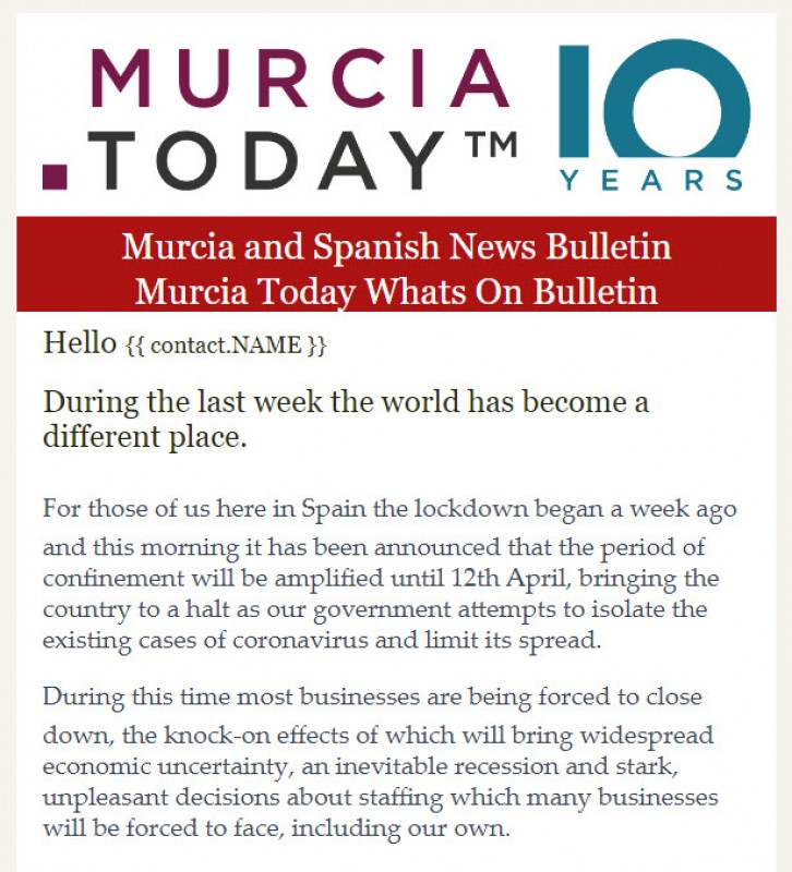 <span style='color:#780948'>ARCHIVED</span> - The last FREE Murcia today Weekly Bulletin