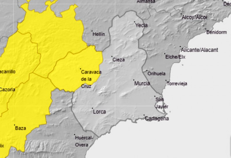 <span style='color:#780948'>ARCHIVED</span> - Snow alert in north-west Murcia on Friday evening and Saturday morning