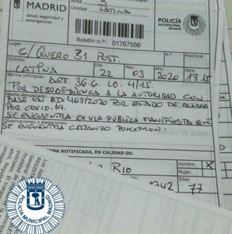 <span style='color:#780948'>ARCHIVED</span> - Madrid lockdown breaker fined for claiming to be hunting Pokemons in the street