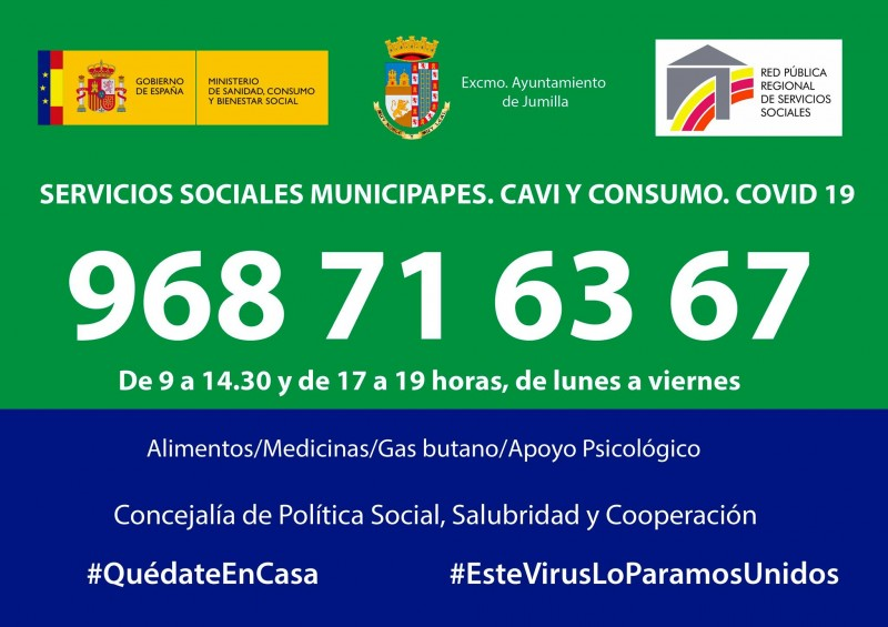 <span style='color:#780948'>ARCHIVED</span> - Social services contact number during the Covid-19 crisis in Jumilla