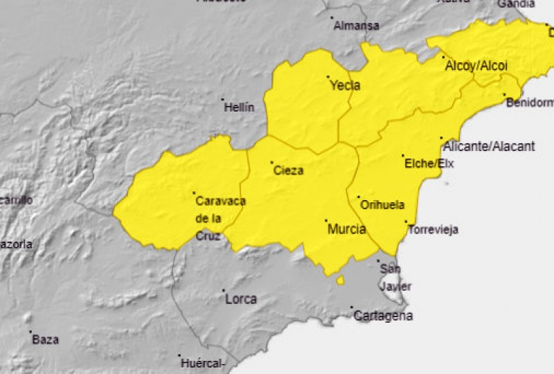 Yellow alert for possible hailstorms in much of Murcia on Wednesday