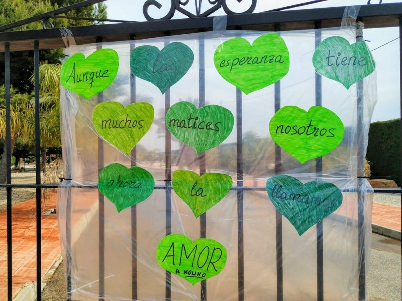 San Javier covered in green hearts bearing messages of thanks to medical workers and emergency services