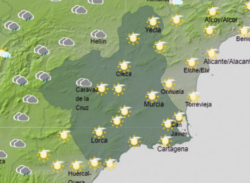 <span style='color:#780948'>ARCHIVED</span> - A mostly sunny start to Easter Week in the Costa Cálida