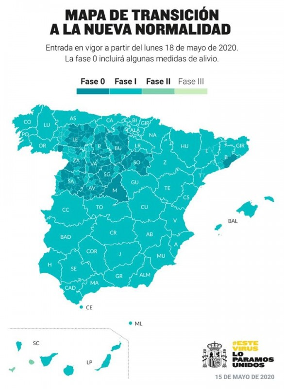 70 percent of Spain is now in phase one including all three provinces of Valencia