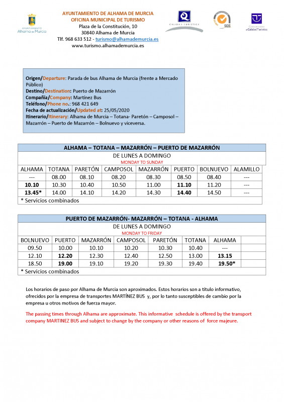 Updated bus timetable for Alhama, Totana, Mazarron, Puerto de Mazarron May 2020