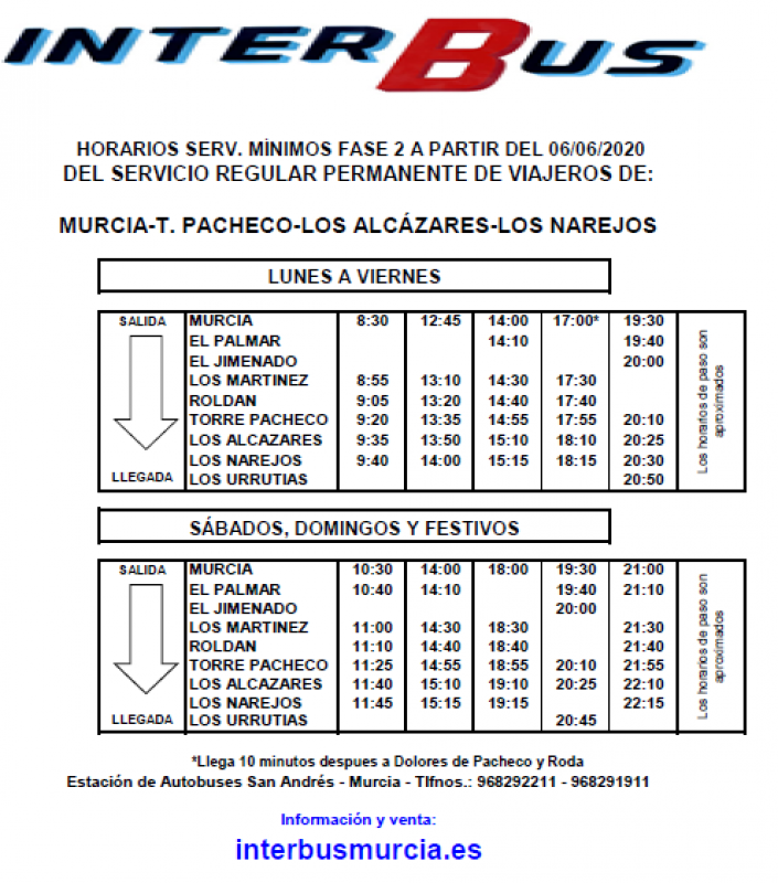 Interbus from 6th June:  Los Narejos -Torre Pacheco-Los Alcázares- Murcia
