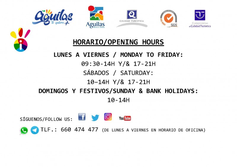 Águilas Tourist office opening times Summer 2020