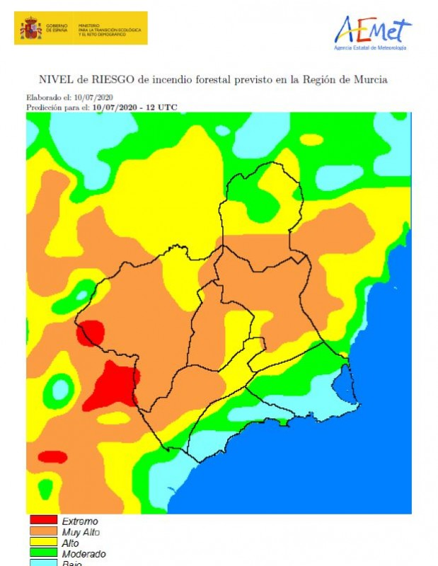 <span style='color:#780948'>ARCHIVED</span> - Fire risk moderate in Murcia region on Friday