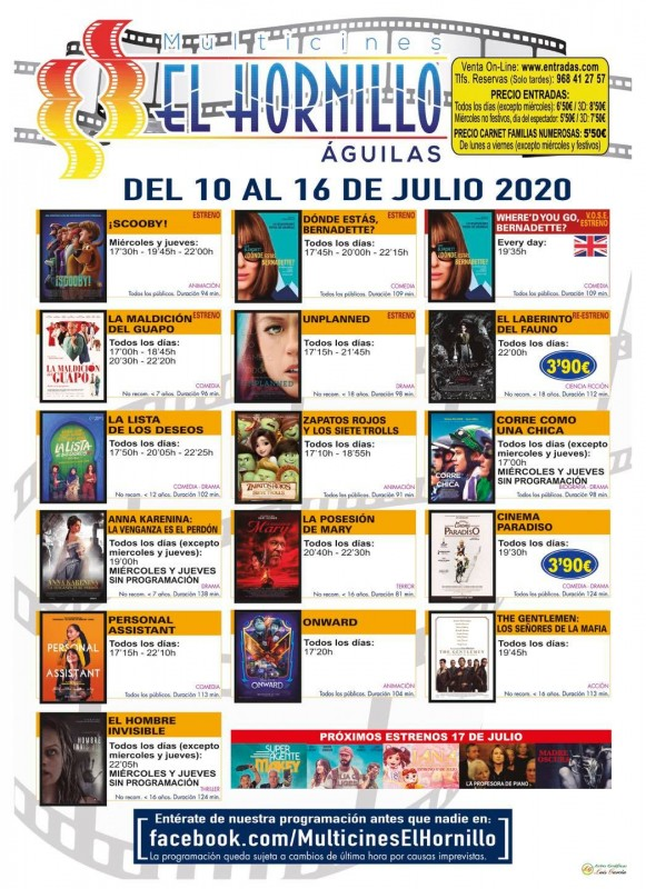 <span style='color:#780948'>ARCHIVED</span> - English language cinema in Águilas 10th to 16th July