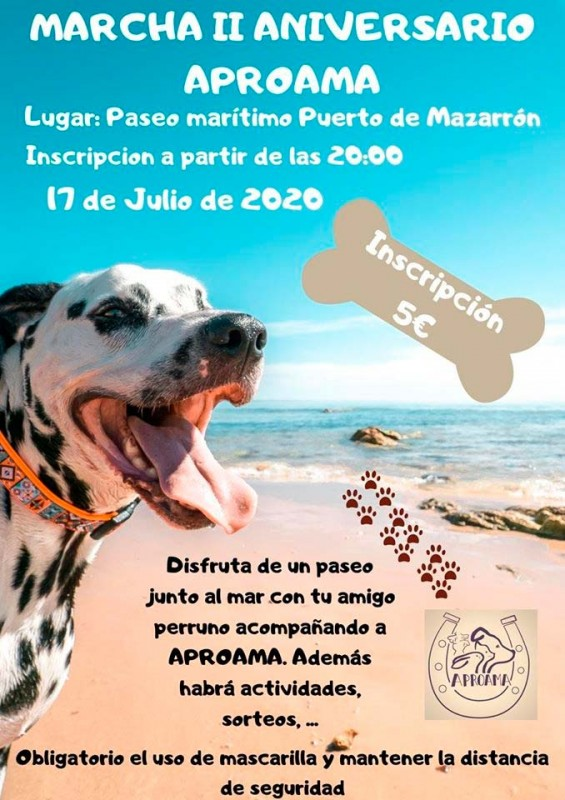 <span style='color:#780948'>ARCHIVED</span> - 17th July APROAMA charity dog walk in Puerto de Mazarron