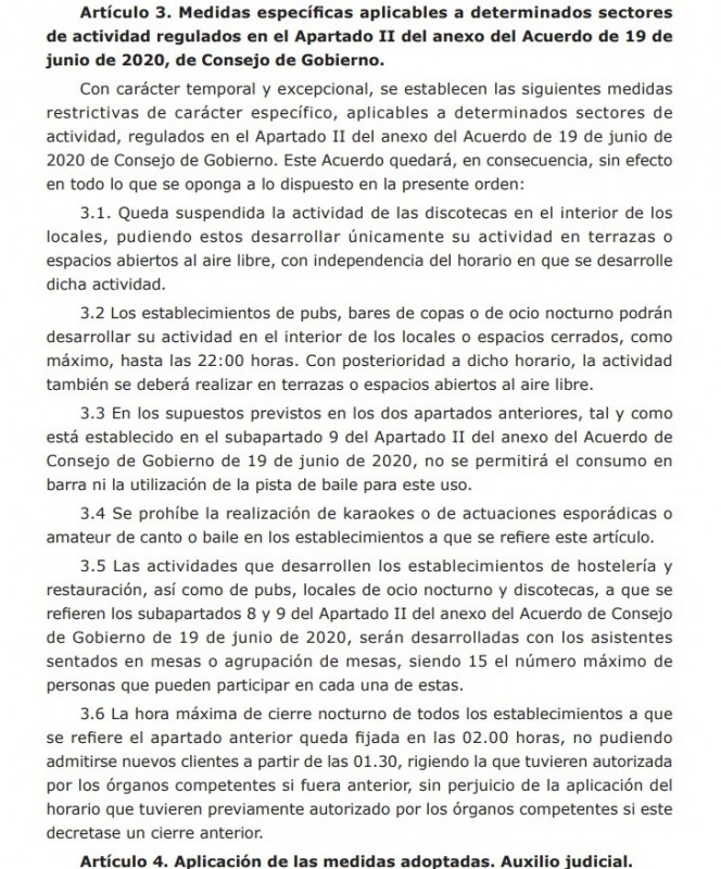 <span style='color:#780948'>ARCHIVED</span> - New rules for Murcia Region; no karaoke, no dancing and no drinking inside after 10:00