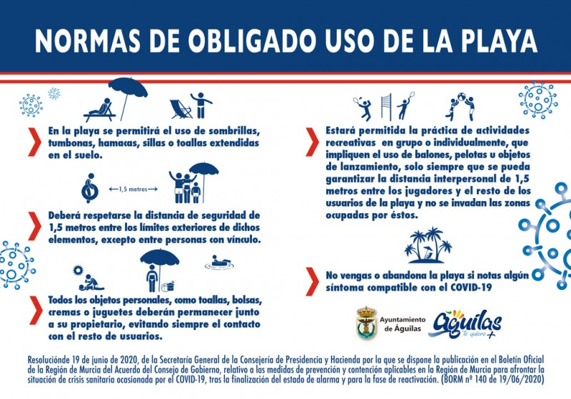 Rules for beach use in Águilas during the Covid Pandemic