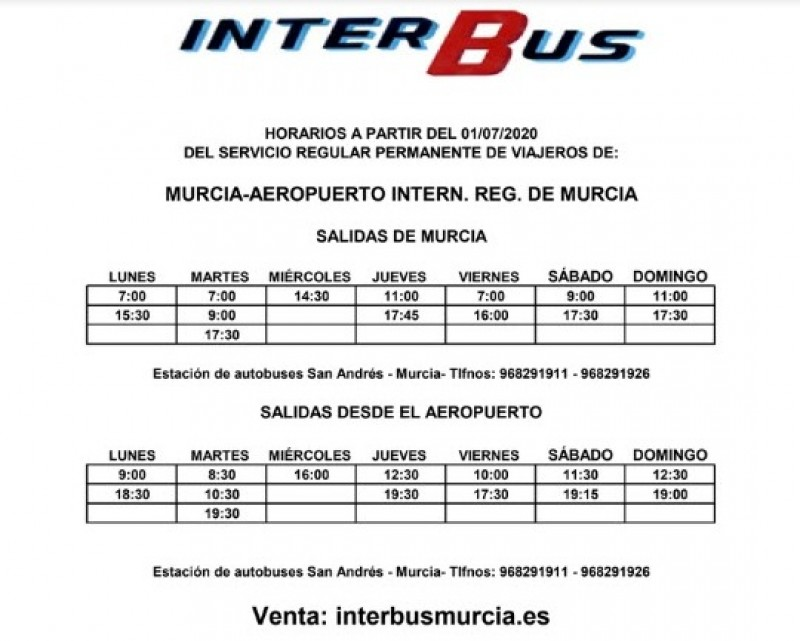 Bus services; Corvera airport Murcia - golf resorts and towns Costa Cálida 2020
