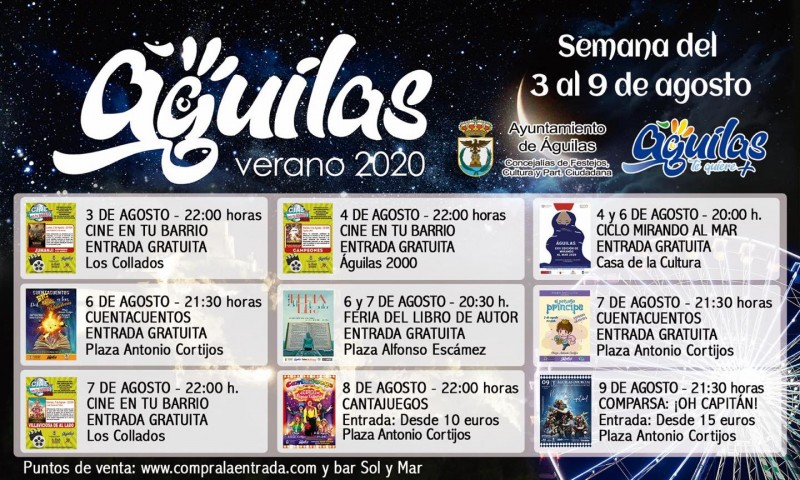 <span style='color:#780948'>ARCHIVED</span> - 3rd to 9th August entertainment in the Águilas municipality