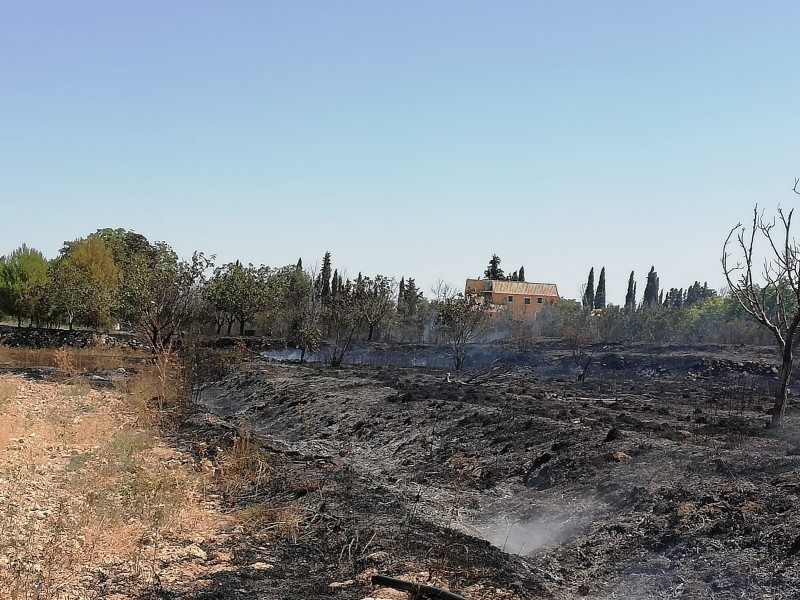 <span style='color:#780948'>ARCHIVED</span> - Agricultural fire extinguished rapidly in Caravaca de la Cruz