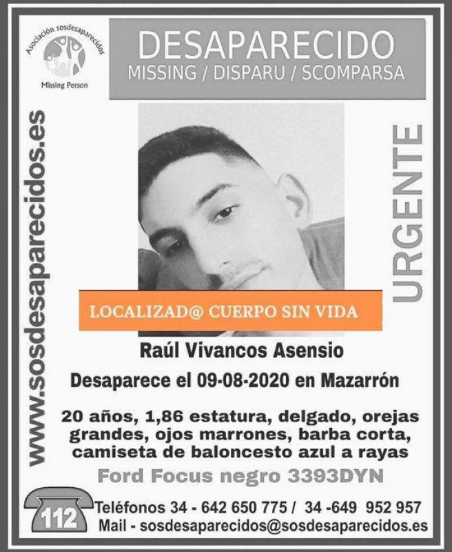 <span style='color:#780948'>ARCHIVED</span> - Body of missing Mazarrón man found