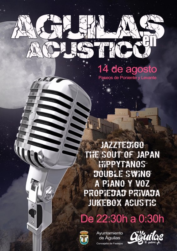 <span style='color:#780948'>ARCHIVED</span> - 14th August Águilas in Acoustic with live bands all along the seafront CANCELLED