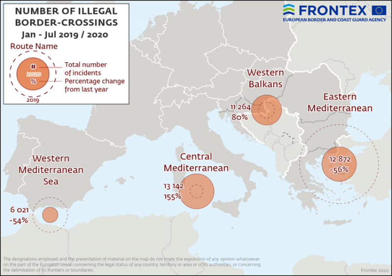 <span style='color:#780948'>ARCHIVED</span> - Frontex report arrivals picking up on EU external borders although figures are still lower than 2019