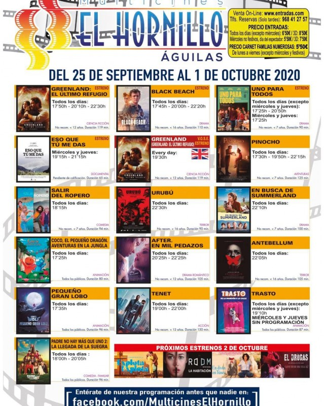 <span style='color:#780948'>ARCHIVED</span> - English language cinema in Águilas 25th September to 1st October