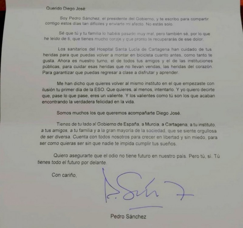 Spanish Prime Minister sends personal letter to young man who suffered homophobic attack