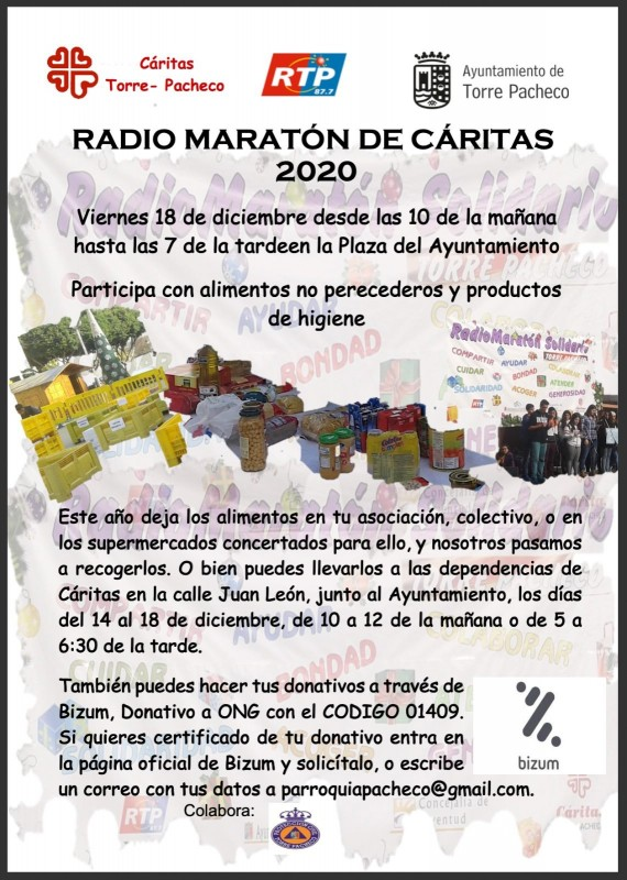 <span style='color:#780948'>ARCHIVED</span> - Radio Torre Pacheco solidarity food collection for the needy this festive season