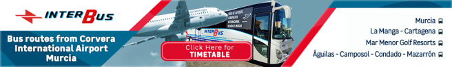 Interbus coach services connecting Corvera airport to coastal and golf resorts in the Costa Cálida