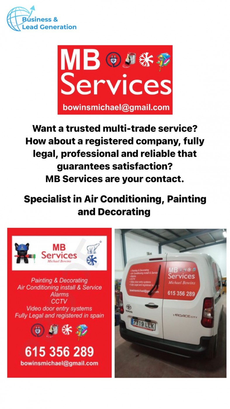 MB Services for air conditioning, home security, painting and decorating in the Costa Cálida