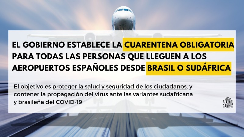 Spain imposes quarantine on travellers arriving from South Africa and Brazil