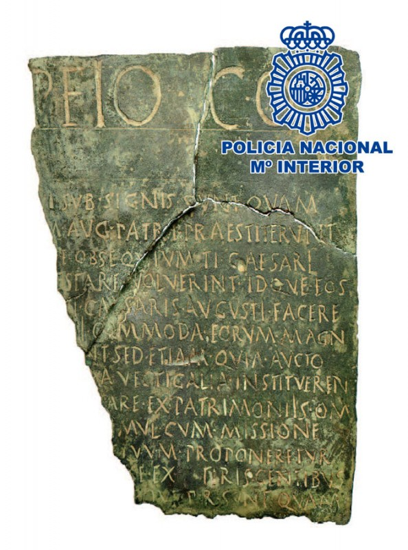 Rare 2,000-year-old bronze Roman legal document recovered in Madrid