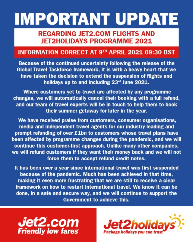 <span style='color:#780948'>ARCHIVED</span> - Jet2 cancels all Spanish flights and holidays before June 23rd