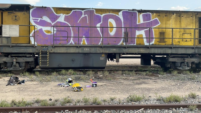 <span style='color:#780948'>ARCHIVED</span> - Policía Local in Elche catch two youths graffitiing train carriages in the old train station