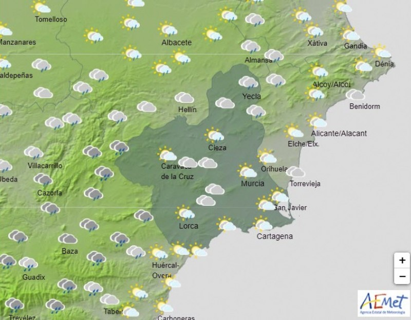<span style='color:#780948'>ARCHIVED</span> - Sun, clouds and possible showers for Murcia Tuesday and Wednesday