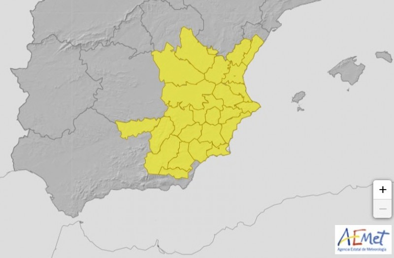 <span style='color:#780948'>ARCHIVED</span> - Yellow warning for storms and rain across Murcia on Thursday