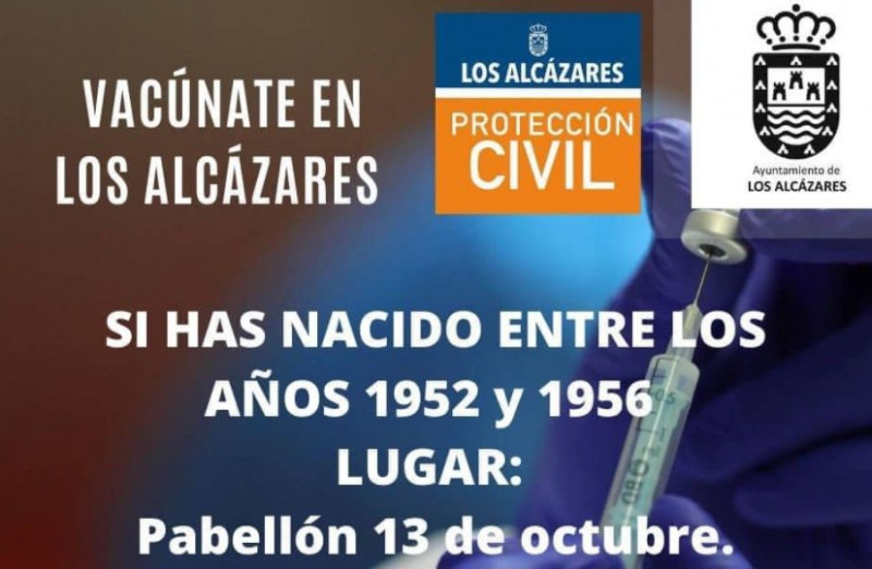 Mass vaccination of 65 to 69 year olds in Los Alcázares on Tuesday