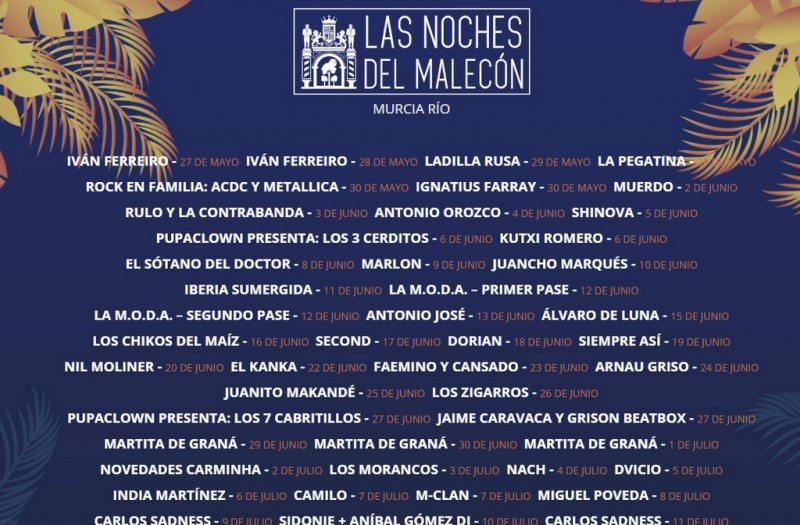 Noches del Malecón brings live music between May and August in the city of Murcia