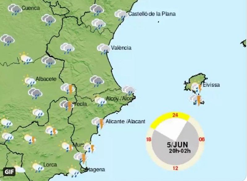 Wet weekend with storms ahead in Valencia region