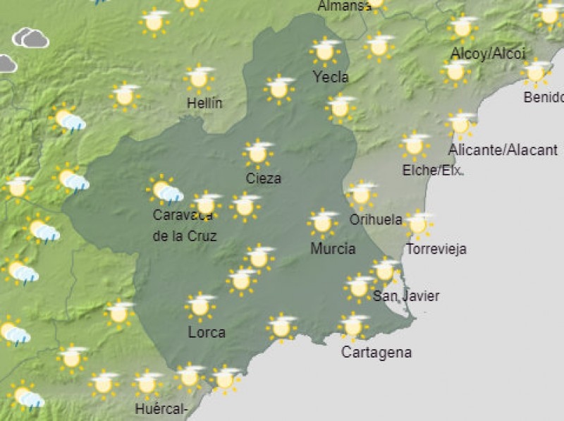 <span style='color:#780948'>ARCHIVED</span> - Weekend weather in the Costa Cálida: a cloudy start but clearing as temperatures reach over 30