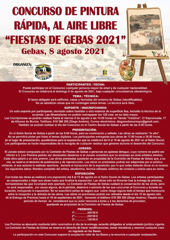 Open air speed painting competition at Gebas in Alhama de Murcia, August 8