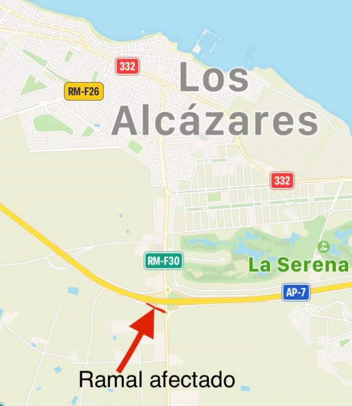 <span style='color:#780948'>ARCHIVED</span> - Road closure on A-7 exit near Los Alcázares until end of July