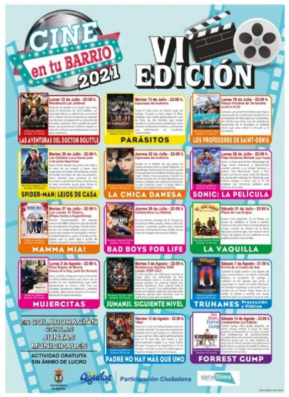 Enjoy a free family film outdoors this summer in Aguilas