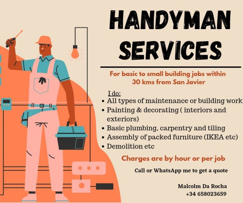 Handyman Malcolm for painting, decorating, building work and property maintenance in Murcia and Alicante
