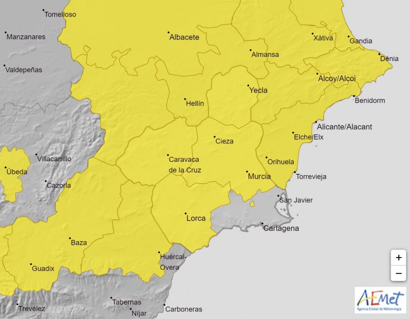<span style='color:#780948'>ARCHIVED</span> - Murcia Weather: Yellow warning in place for Friday, July 30 but cooler this weekend