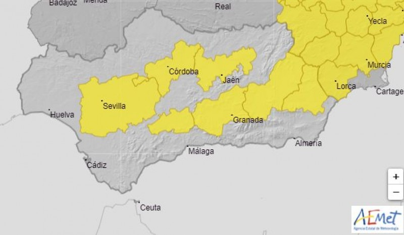 <span style='color:#780948'>ARCHIVED</span> - Yellow weather warnings for heat issued for Andalusia from 2pm: July 30